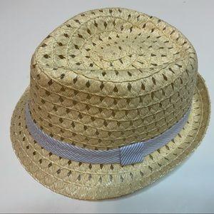 TAN BLUE RIBBON FEDORA STRAW WOVEN HAT
